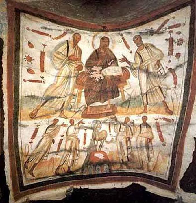 Фреска, изображающая Христа с его апостолами, ранняя христианская эпоха.